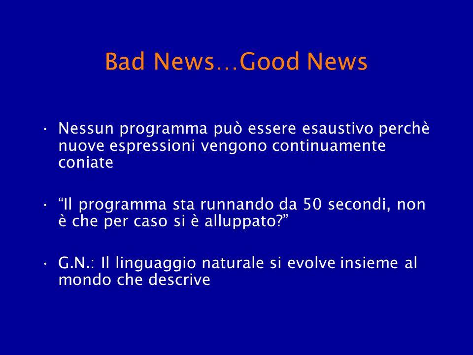 Bad News…Good News Nessun programma può essere esaustivo perchè nuove espressioni vengono continuamente coniate Il programma sta runnando da 50 second