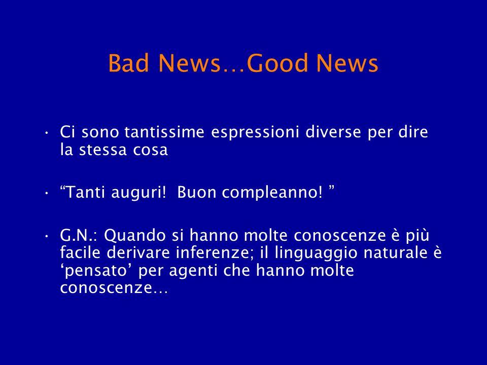 Bad News…Good News Ci sono tantissime espressioni diverse per dire la stessa cosa Tanti auguri! Buon compleanno! G.N.: Quando si hanno molte conoscenz