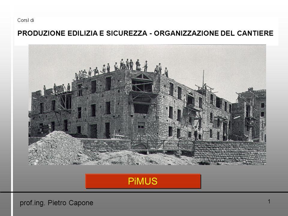 1 CorsI di PRODUZIONE EDILIZIA E SICUREZZA - ORGANIZZAZIONE DEL CANTIERE prof.ing. Pietro Capone PiMUS