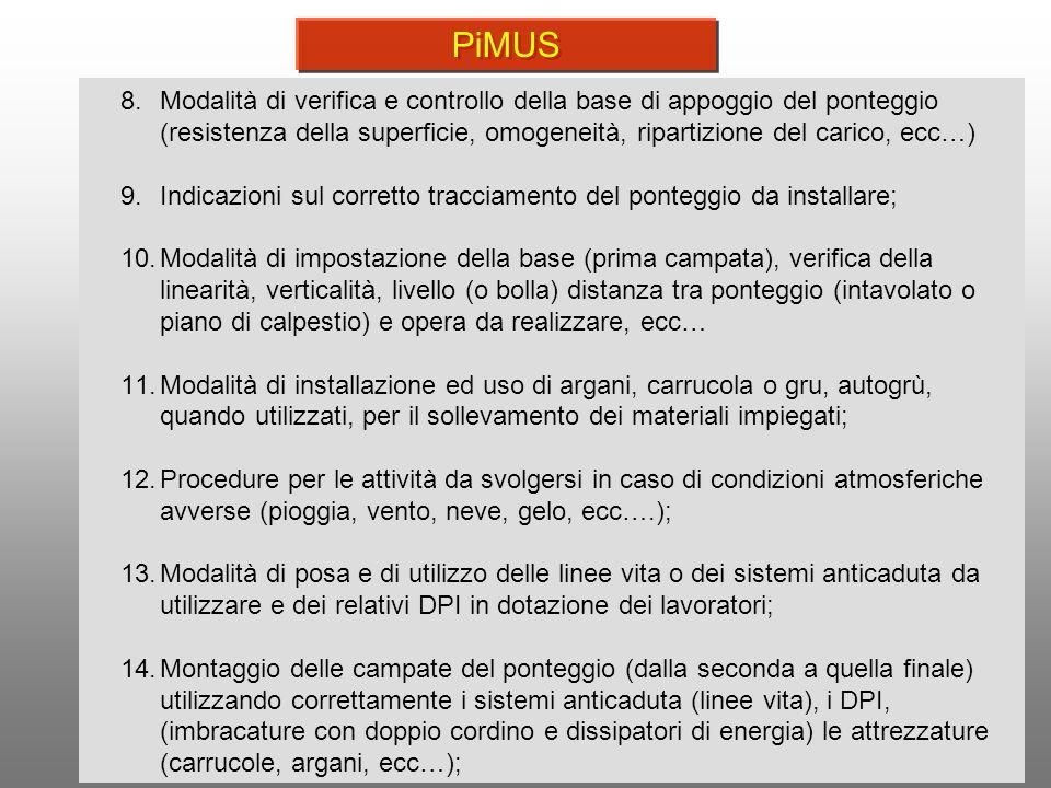 10 8.Modalità di verifica e controllo della base di appoggio del ponteggio (resistenza della superficie, omogeneità, ripartizione del carico, ecc…) 9.