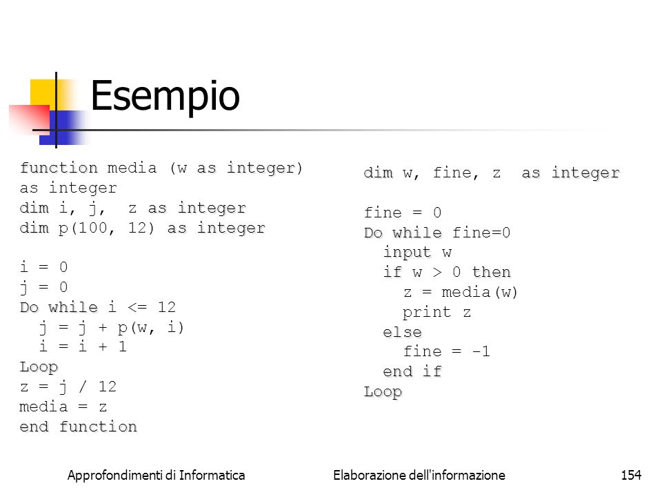 Approfondimenti di Informatica Elaborazione dell'informazione154 functionasinteger function media (w as integer) as integer dimas integer dim i, j, z