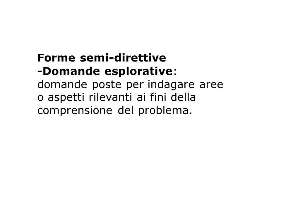 Forme semi-direttive -Domande esplorative: domande poste per indagare aree o aspetti rilevanti ai fini della comprensione del problema.