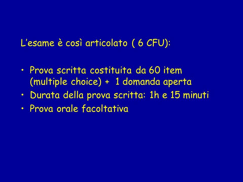 Lesame è così articolato ( 6 CFU): Prova scritta costituita da 60 item (multiple choice) + 1 domanda aperta Durata della prova scritta: 1h e 15 minuti