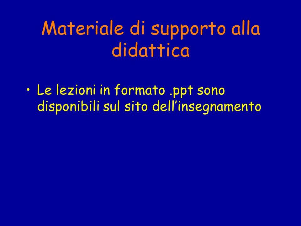 Materiale di supporto alla didattica Le lezioni in formato.ppt sono disponibili sul sito dellinsegnamento
