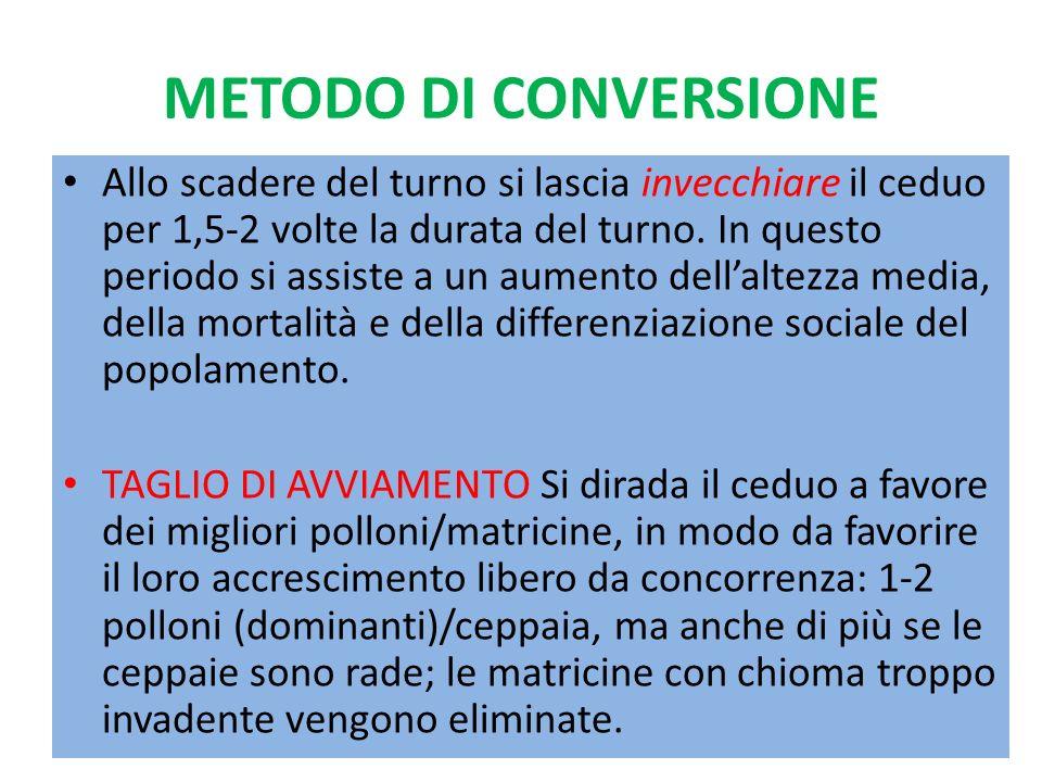 METODO DI CONVERSIONE Seguono altri diradamenti (t.