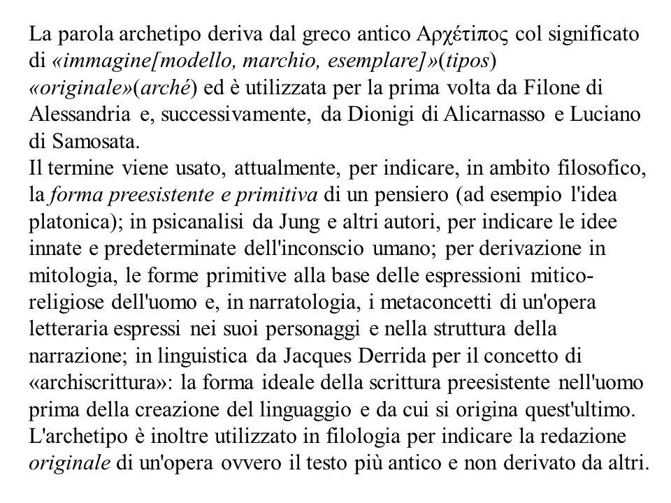 La parola archetipo deriva dal greco antico Aρχέτiπος col significato di «immagine[modello, marchio, esemplare]»(tipos) «originale»(arché) ed è utiliz