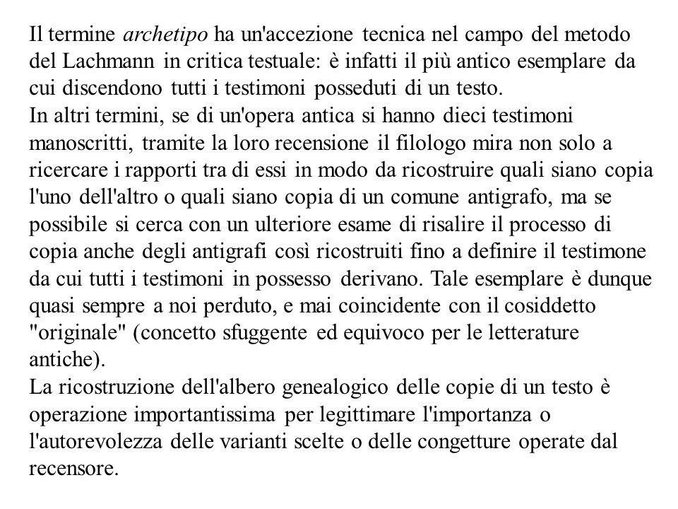 Il termine archetipo ha un'accezione tecnica nel campo del metodo del Lachmann in critica testuale: è infatti il più antico esemplare da cui discendon