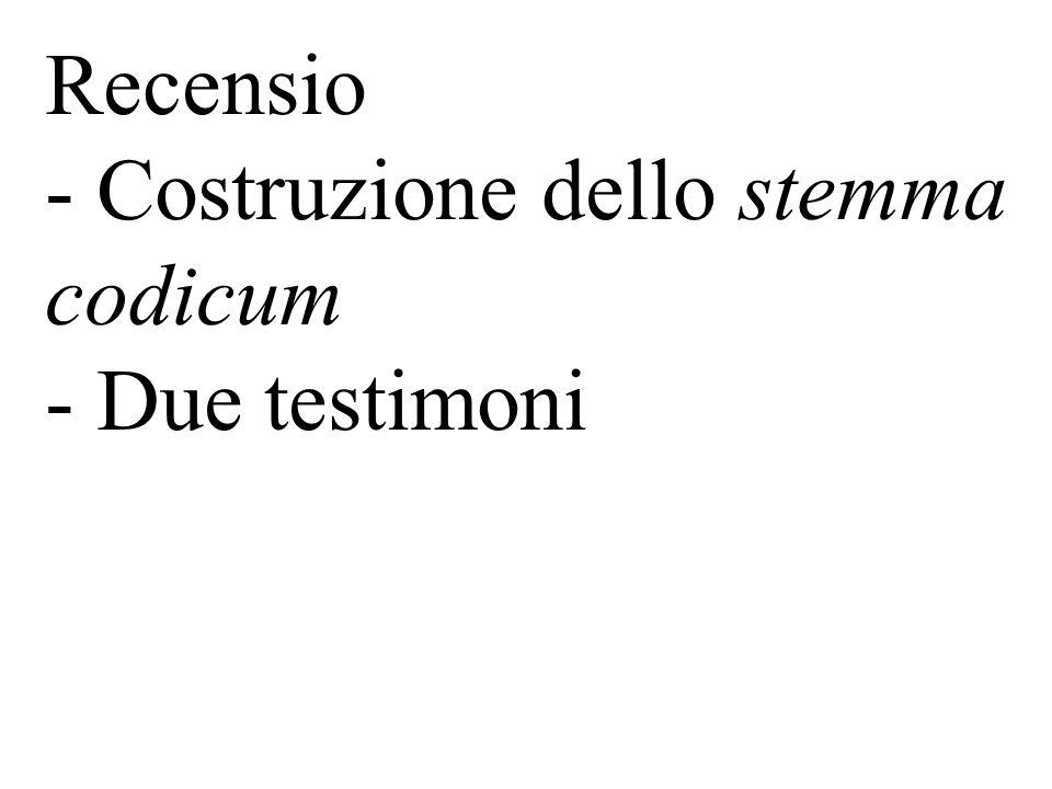 Recensio - Costruzione dello stemma codicum - Due testimoni