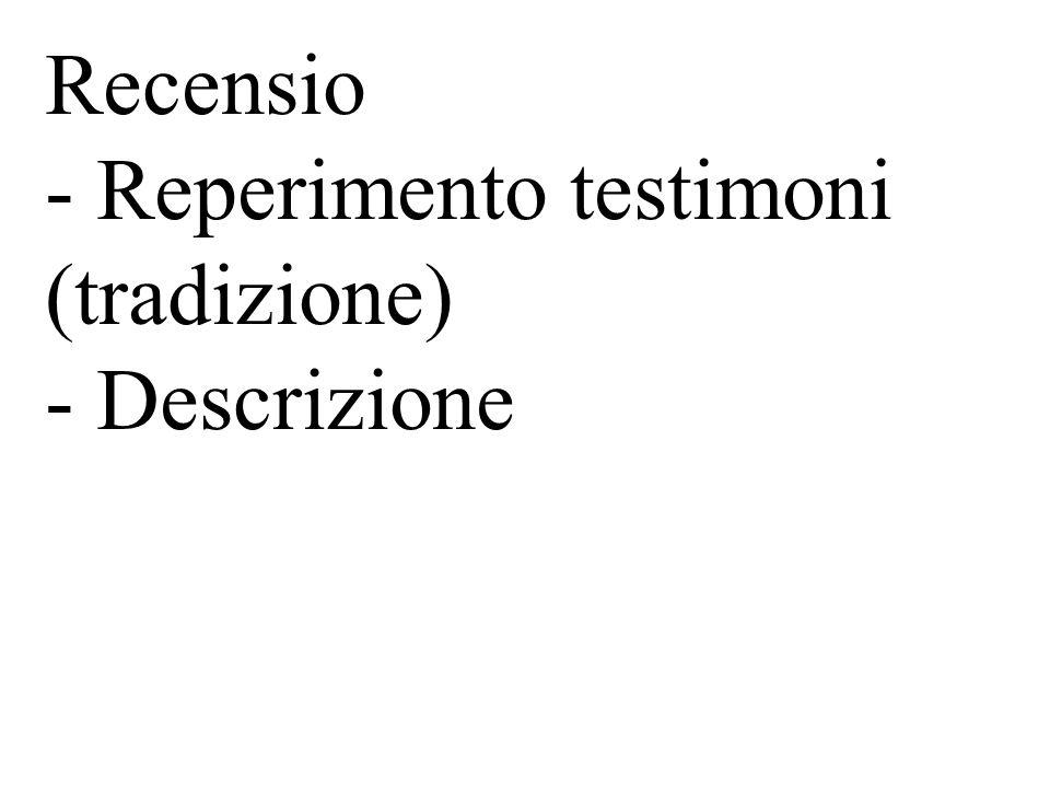 Recensio - Raccolta e descrizione della tradizione - Collatio (collazione) - Come si conduce - scelta dellesemplare - paragrafazione - annotazione delle varianti