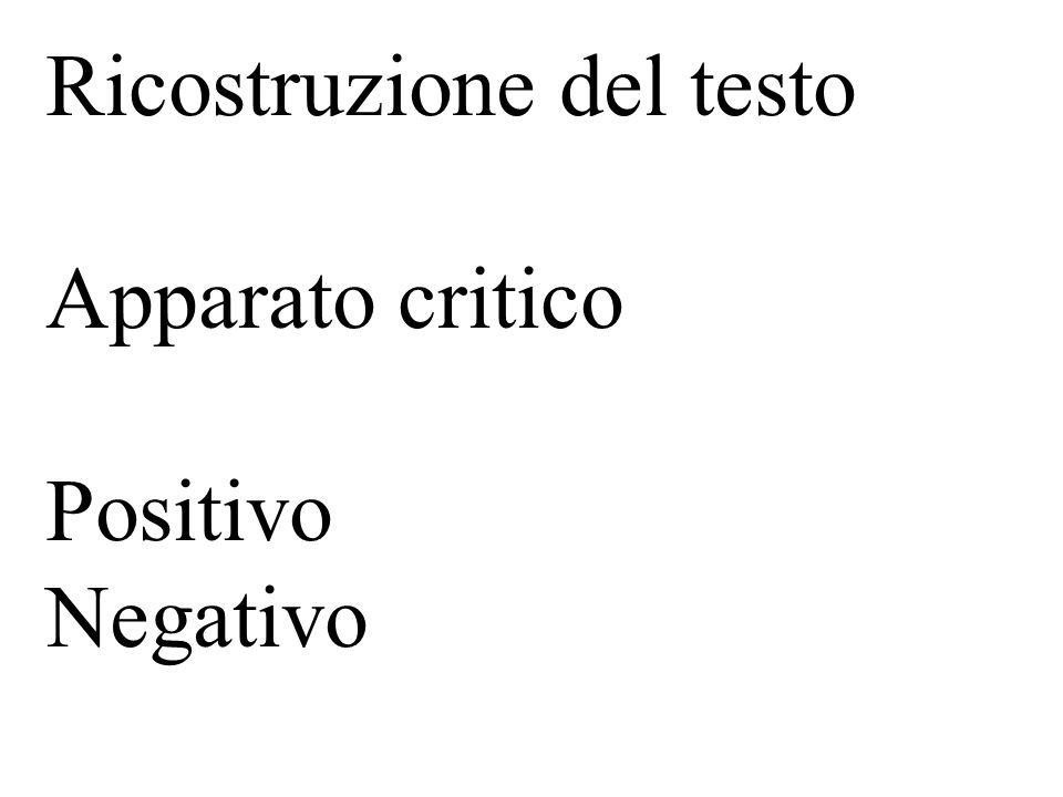 Ricostruzione del testo Apparato critico Positivo Negativo