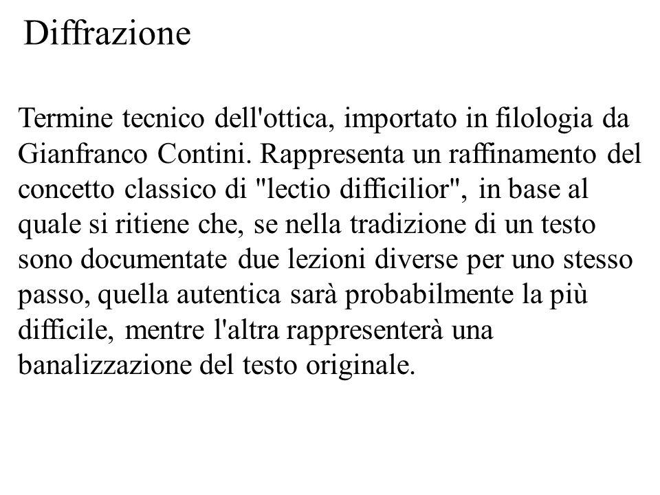 Diffrazione Termine tecnico dell'ottica, importato in filologia da Gianfranco Contini. Rappresenta un raffinamento del concetto classico di
