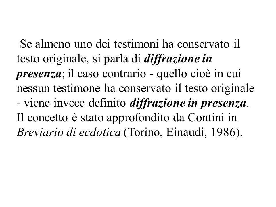 Se almeno uno dei testimoni ha conservato il testo originale, si parla di diffrazione in presenza; il caso contrario - quello cioè in cui nessun testi