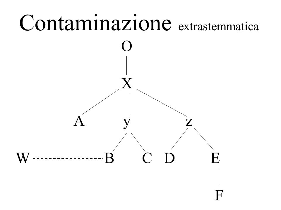 Contaminazione extrastemmatica O X A y z W B C D E F