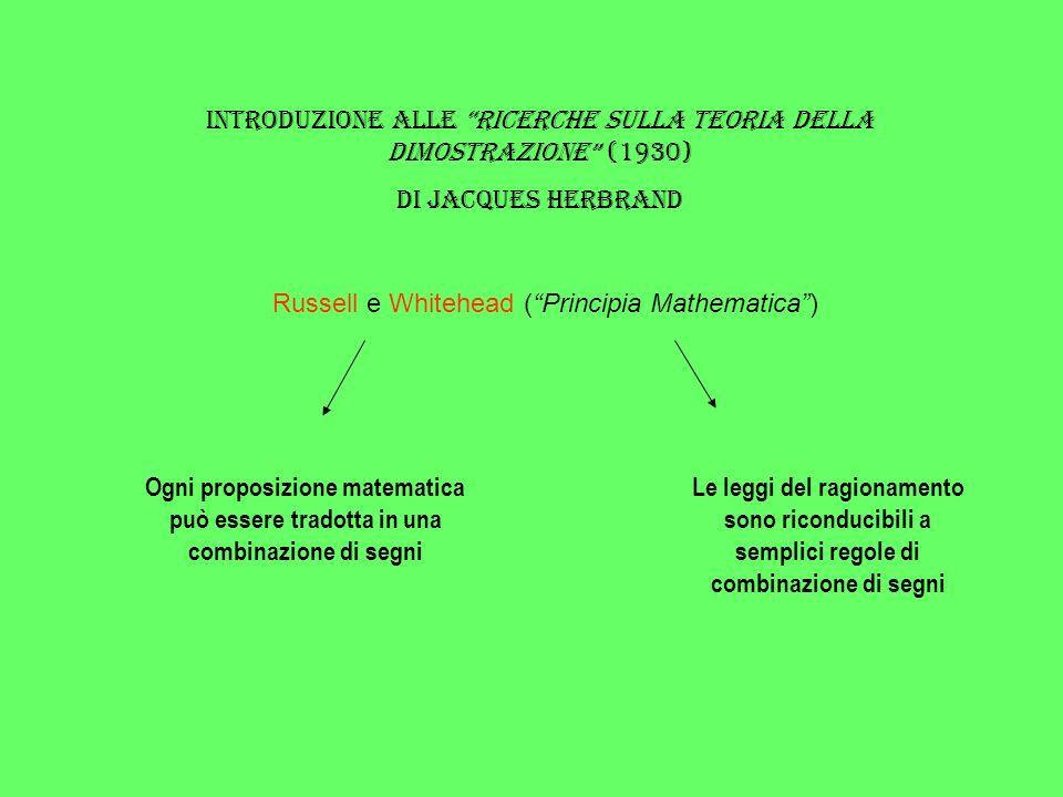 Segni & Leggi Per proseguire nel solco degli autori dei Principia, dice Herbrand, ci occorrerà un certo numero di segni, che dovranno tradurre le operazioni, i concetti logici più semplici (o, non, e, ecc.) e determinate relazioni fra certi oggetti.