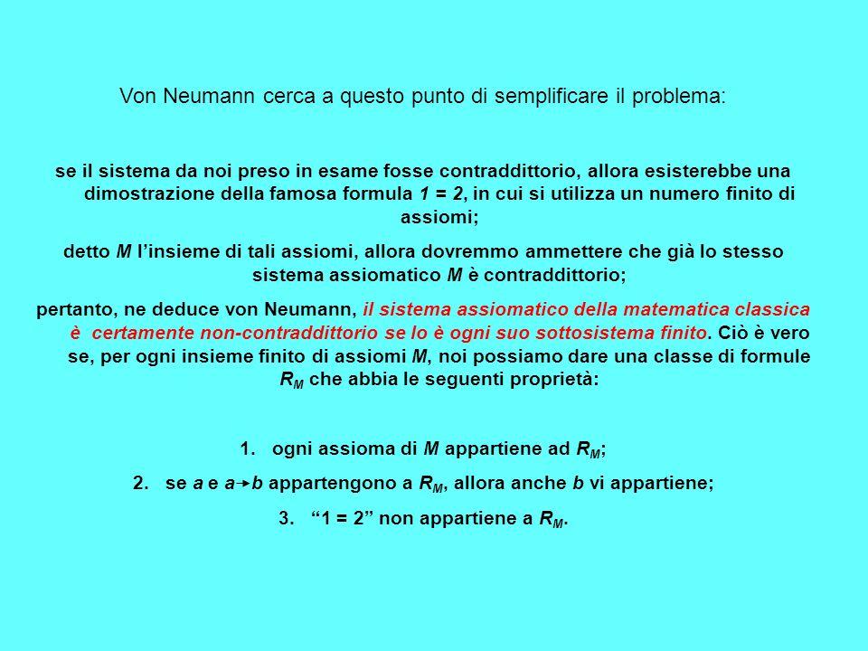 Von Neumann cerca a questo punto di semplificare il problema: se il sistema da noi preso in esame fosse contraddittorio, allora esisterebbe una dimost