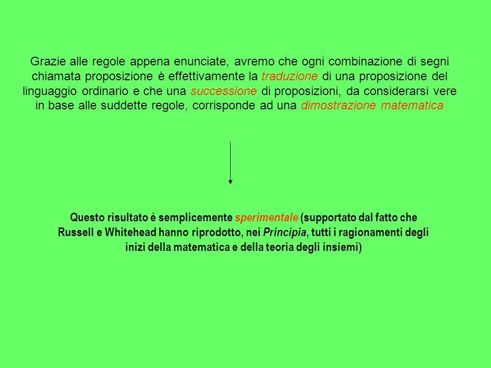 Grazie alle regole appena enunciate, avremo che ogni combinazione di segni chiamata proposizione è effettivamente la traduzione di una proposizione de