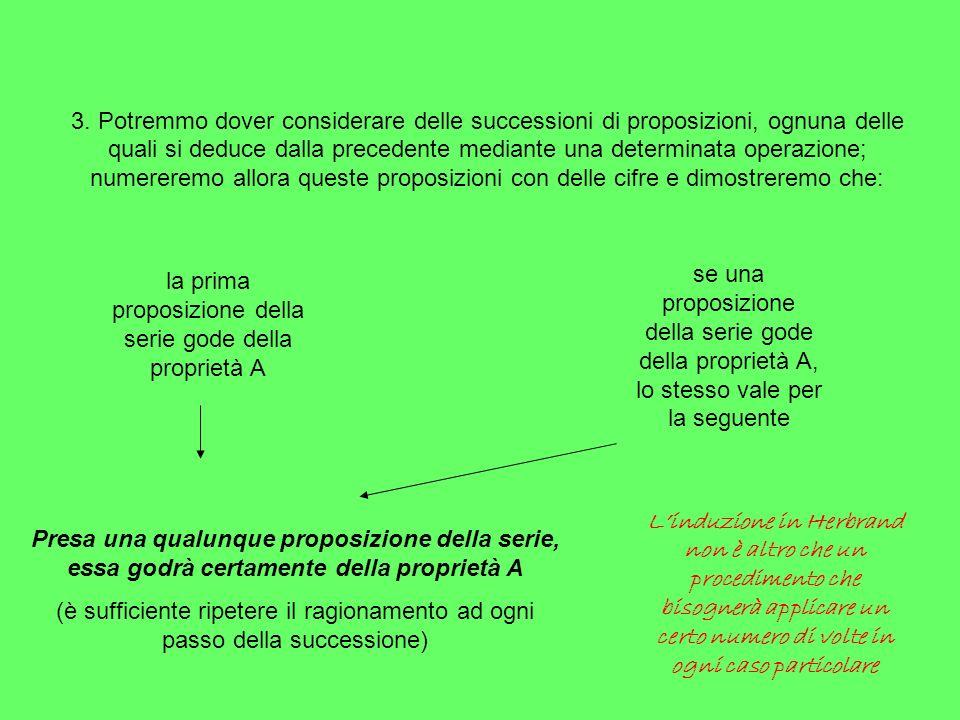 3. Potremmo dover considerare delle successioni di proposizioni, ognuna delle quali si deduce dalla precedente mediante una determinata operazione; nu