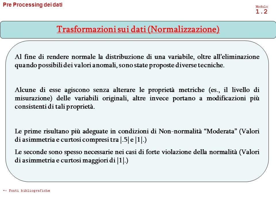 Pre Processing dei dati Modulo 1.2 - Trasformazioni sui dati (Normalizzazione) - Fonti bibliografiche Al fine di rendere normale la distribuzione di u