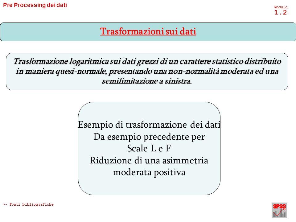 Pre Processing dei dati Modulo 1.2 Trasformazione logaritmica sui dati grezzi di un carattere statistico distribuito in maniera quesi-normale, present