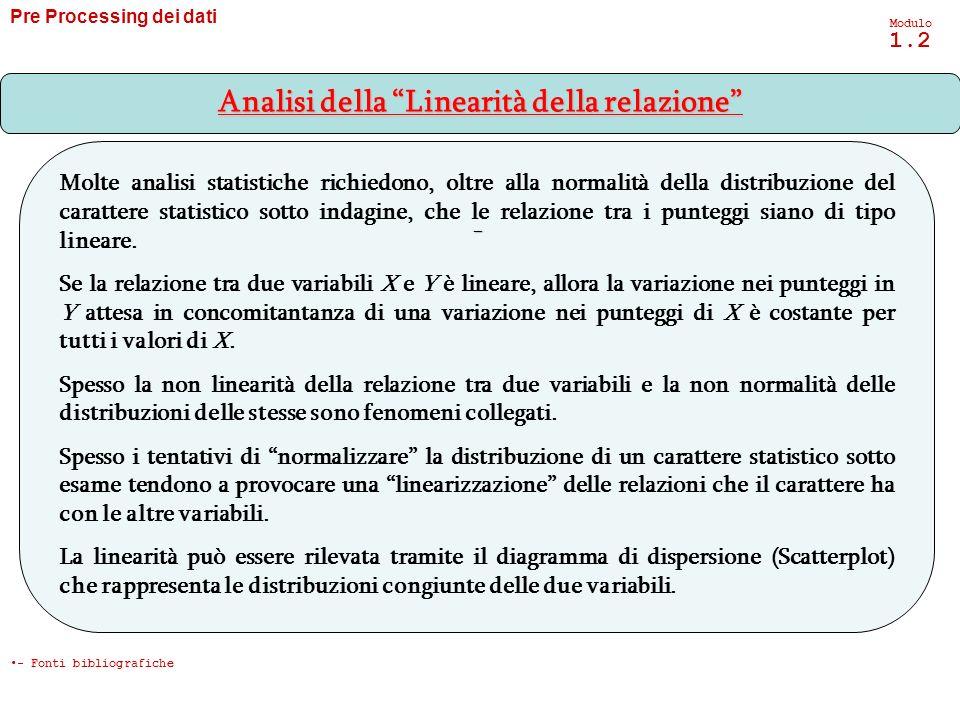 Pre Processing dei dati Modulo 1.2 - Analisi della Linearità della relazione - Fonti bibliografiche Molte analisi statistiche richiedono, oltre alla n