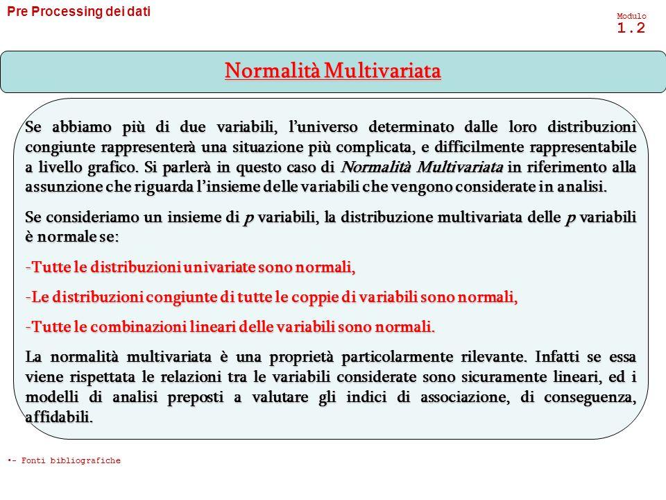 Pre Processing dei dati Modulo 1.2 Se abbiamo più di due variabili, luniverso determinato dalle loro distribuzioni congiunte rappresenterà una situazi