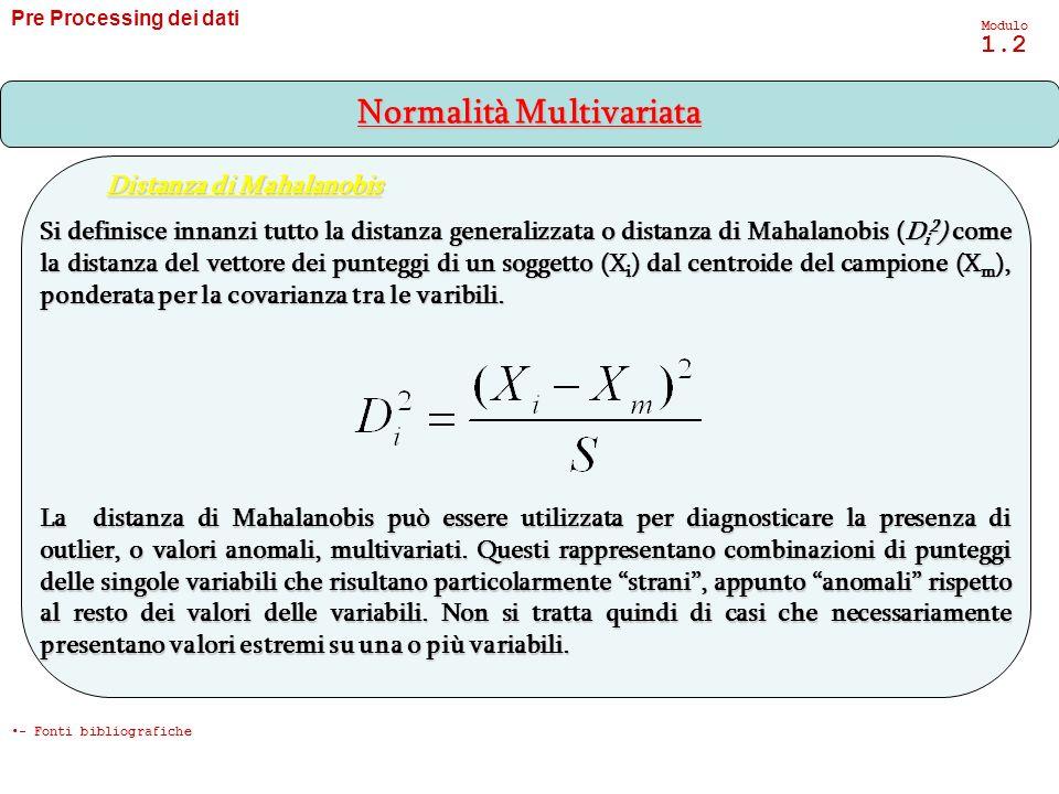 Pre Processing dei dati Modulo 1.2 Si definisce innanzi tutto la distanza generalizzata o distanza di Mahalanobis (D i 2 ) come la distanza del vettor