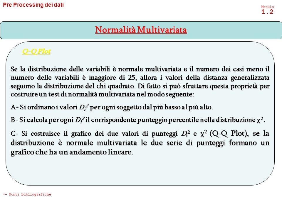 Se la distribuzione delle variabili è normale multivariata e il numero dei casi meno il numero delle variabili è maggiore di 25, allora i valori della