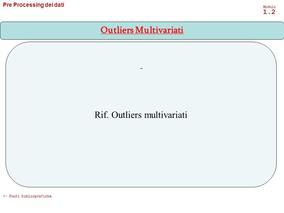 Pre Processing dei dati Modulo 1.2 Rif. Outliers multivariati - Outliers Multivariati - Fonti bibliografiche