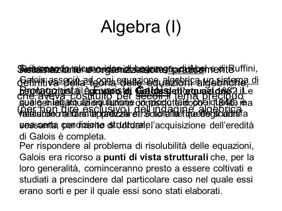 Algebra (I) Protagonista è Evariste Galois, morto nel 1832.