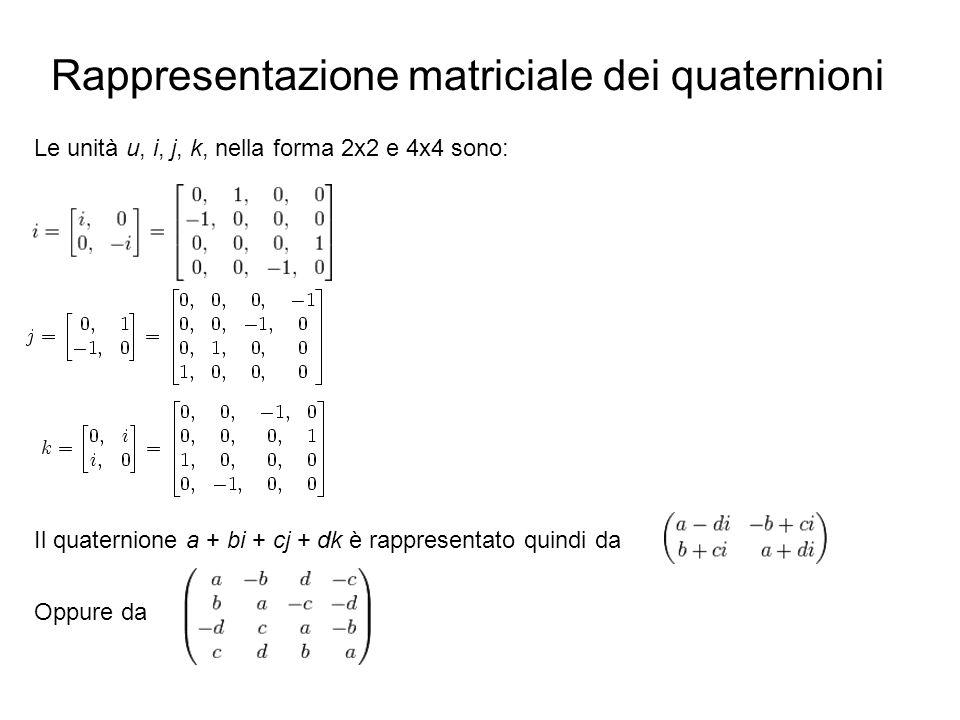 Rappresentazione matriciale dei quaternioni Le unità u, i, j, k, nella forma 2x2 e 4x4 sono: Il quaternione a + bi + cj + dk è rappresentato quindi da Oppure da