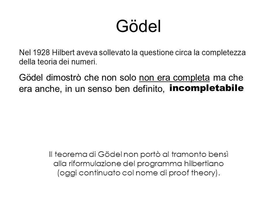 Gödel Nel 1928 Hilbert aveva sollevato la questione circa la completezza della teoria dei numeri.