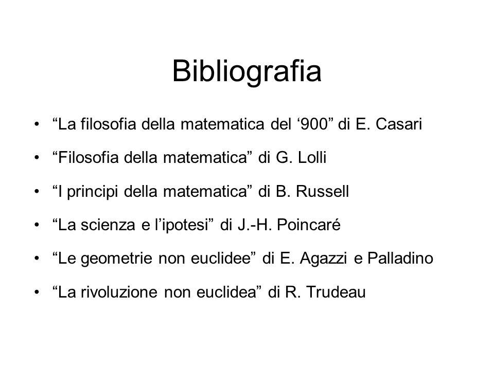 Bibliografia La filosofia della matematica del 900 di E.