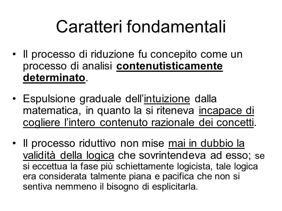 Caratteri fondamentali Il processo di riduzione fu concepito come un processo di analisi contenutisticamente determinato.