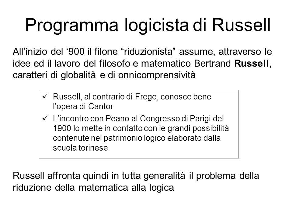 Russell, al contrario di Frege, conosce bene lopera di Cantor Lincontro con Peano al Congresso di Parigi del 1900 lo mette in contatto con le grandi possibilità contenute nel patrimonio logico elaborato dalla scuola torinese Allinizio del 900 il filone riduzionista assume, attraverso le idee ed il lavoro del filosofo e matematico Bertrand Russell, caratteri di globalità e di onnicomprensività Russell affronta quindi in tutta generalità il problema della riduzione della matematica alla logica logicistadi RussellProgramma