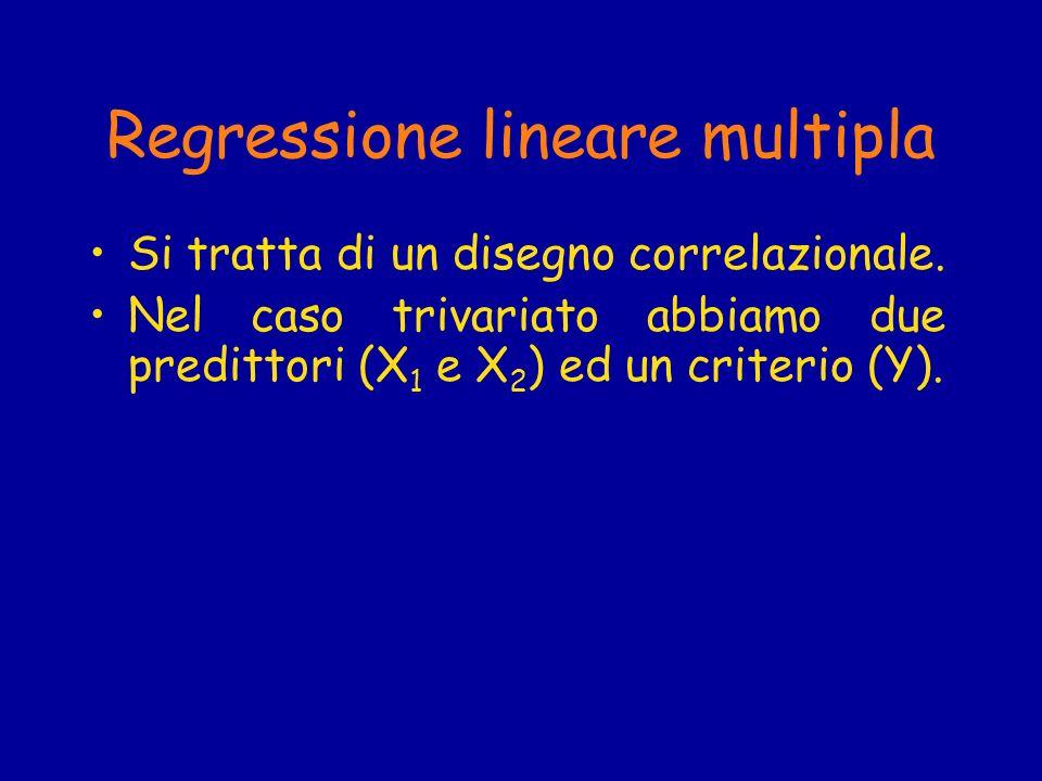 Regressione lineare multipla Si tratta di un disegno correlazionale. Nel caso trivariato abbiamo due predittori (X 1 e X 2 ) ed un criterio (Y).