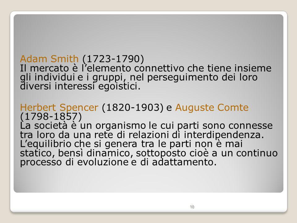 10 Adam Smith (1723-1790) Il mercato è lelemento connettivo che tiene insieme gli individui e i gruppi, nel perseguimento dei loro diversi interessi e