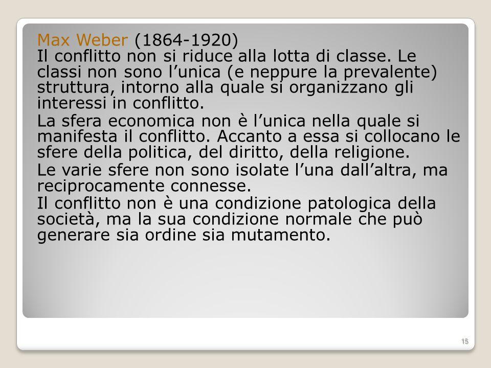 Max Weber (1864-1920) Il conflitto non si riduce alla lotta di classe. Le classi non sono lunica (e neppure la prevalente) struttura, intorno alla qua