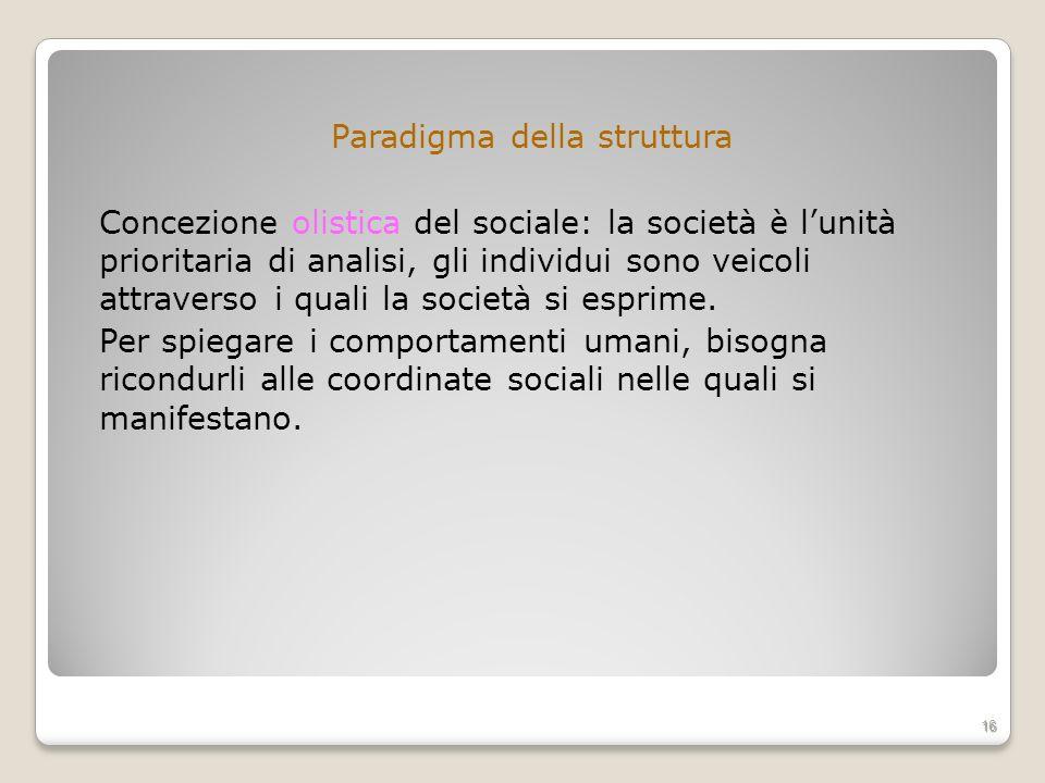 Paradigma della struttura Concezione olistica del sociale: la società è lunità prioritaria di analisi, gli individui sono veicoli attraverso i quali l