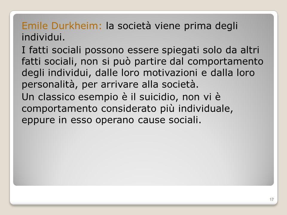 Emile Durkheim: la società viene prima degli individui. I fatti sociali possono essere spiegati solo da altri fatti sociali, non si può partire dal co