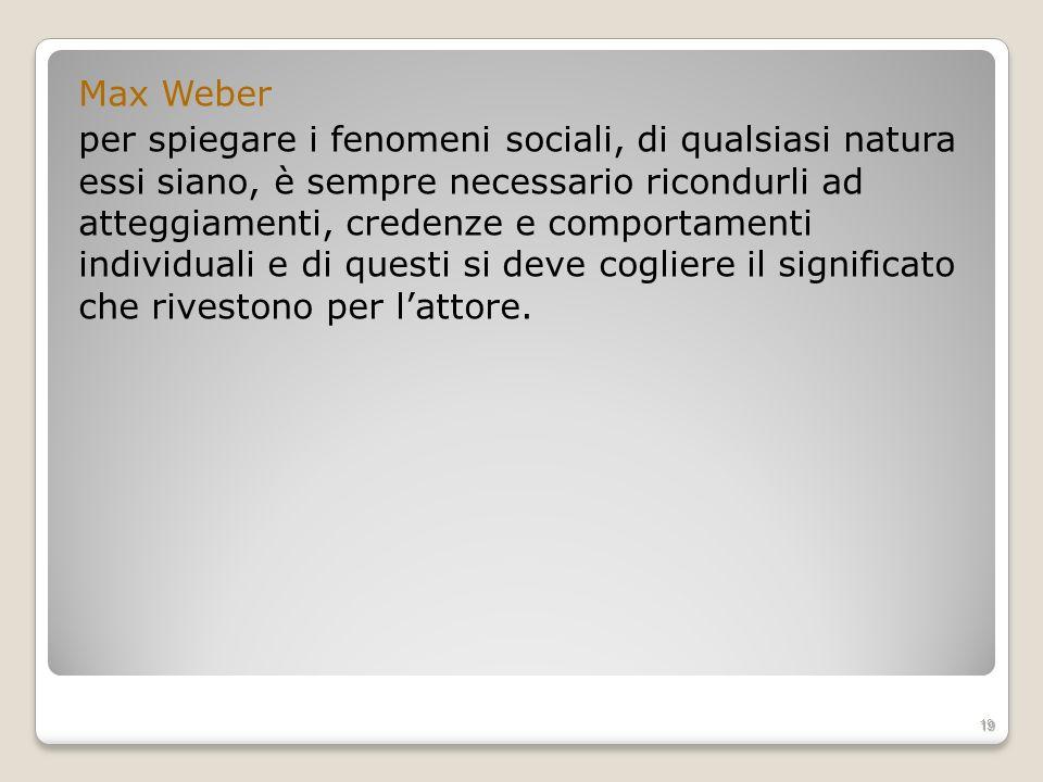 Max Weber per spiegare i fenomeni sociali, di qualsiasi natura essi siano, è sempre necessario ricondurli ad atteggiamenti, credenze e comportamenti i