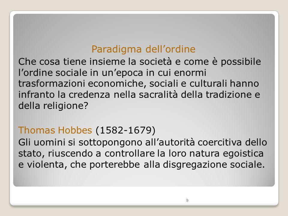 9 Paradigma dellordine Che cosa tiene insieme la società e come è possibile lordine sociale in unepoca in cui enormi trasformazioni economiche, social