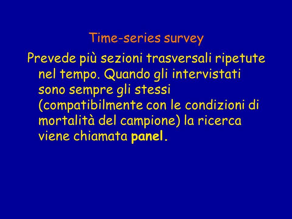 Time-series survey Prevede più sezioni trasversali ripetute nel tempo. Quando gli intervistati sono sempre gli stessi (compatibilmente con le condizio