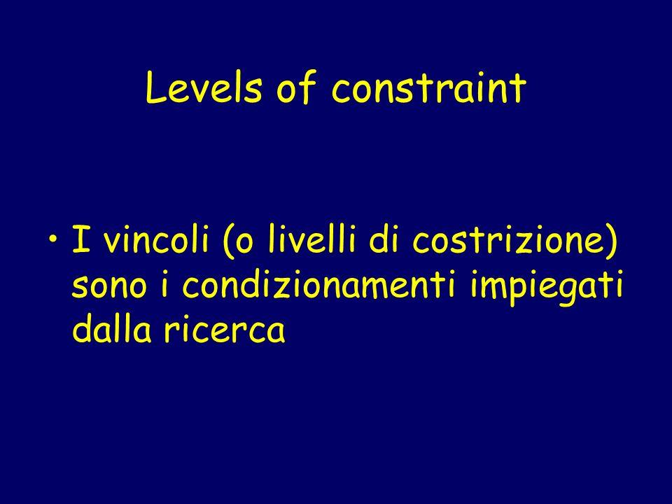 Levels of constraint I vincoli (o livelli di costrizione) sono i condizionamenti impiegati dalla ricerca
