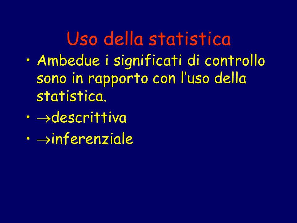 Uso della statistica Ambedue i significati di controllo sono in rapporto con luso della statistica. descrittiva inferenziale