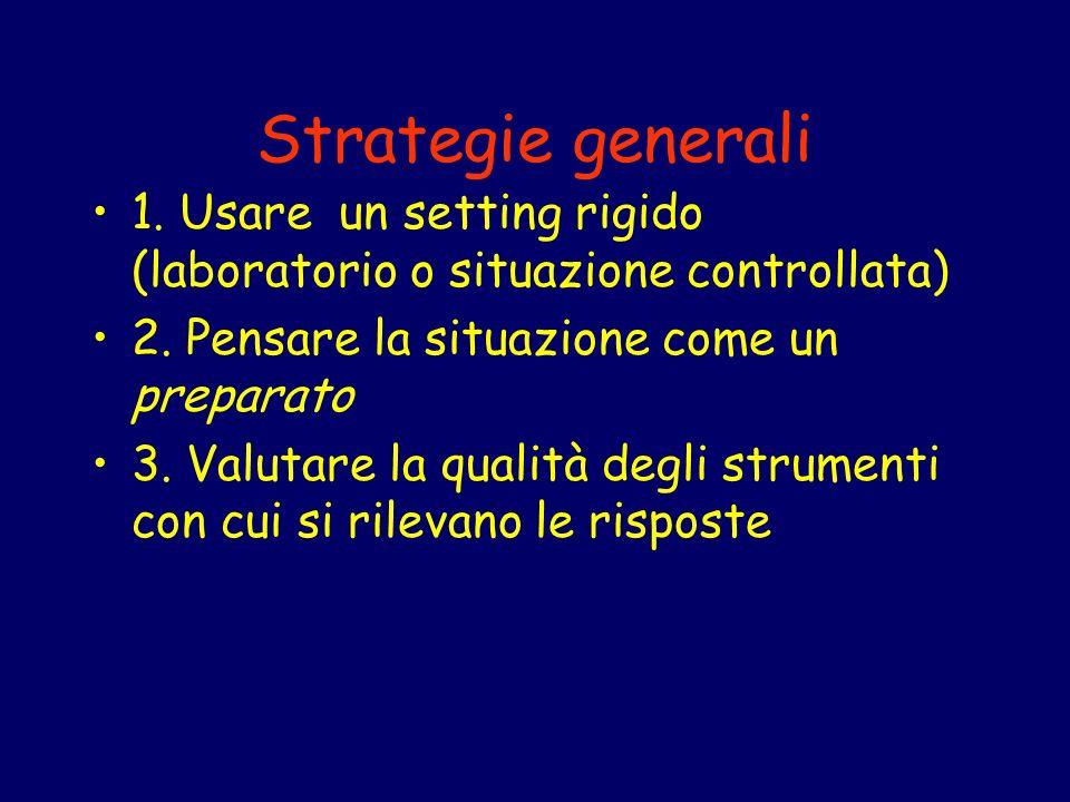 Strategie generali 1. Usare un setting rigido (laboratorio o situazione controllata) 2. Pensare la situazione come un preparato 3. Valutare la qualità