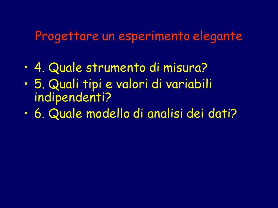 Progettare un esperimento elegante 4. Quale strumento di misura? 5. Quali tipi e valori di variabili indipendenti? 6. Quale modello di analisi dei dat