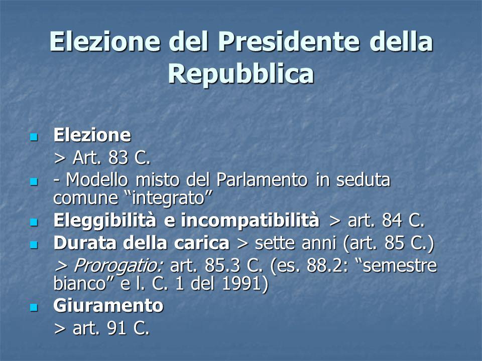 Elezione del Presidente della Repubblica Elezione Elezione > Art. 83 C. - Modello misto del Parlamento in seduta comune integrato - Modello misto del
