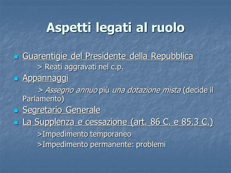 Aspetti legati al ruolo Guarentigie del Presidente della Repubblica Guarentigie del Presidente della Repubblica > Reati aggravati nel c.p. Appannaggi
