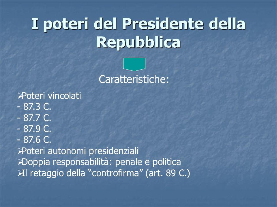 I poteri del Presidente della Repubblica Caratteristiche: Poteri vincolati - 87.3 C. - 87.7 C. - 87.9 C. - 87.6 C. Poteri autonomi presidenziali Doppi