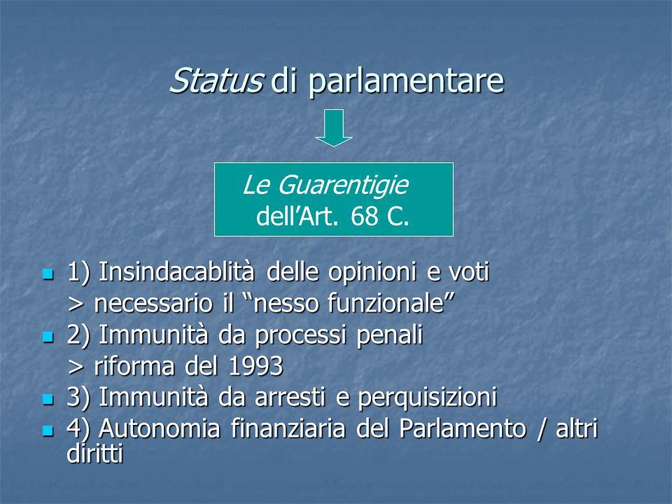 Status di parlamentare 1) Insindacablità delle opinioni e voti 1) Insindacablità delle opinioni e voti > necessario il nesso funzionale 2) Immunità da